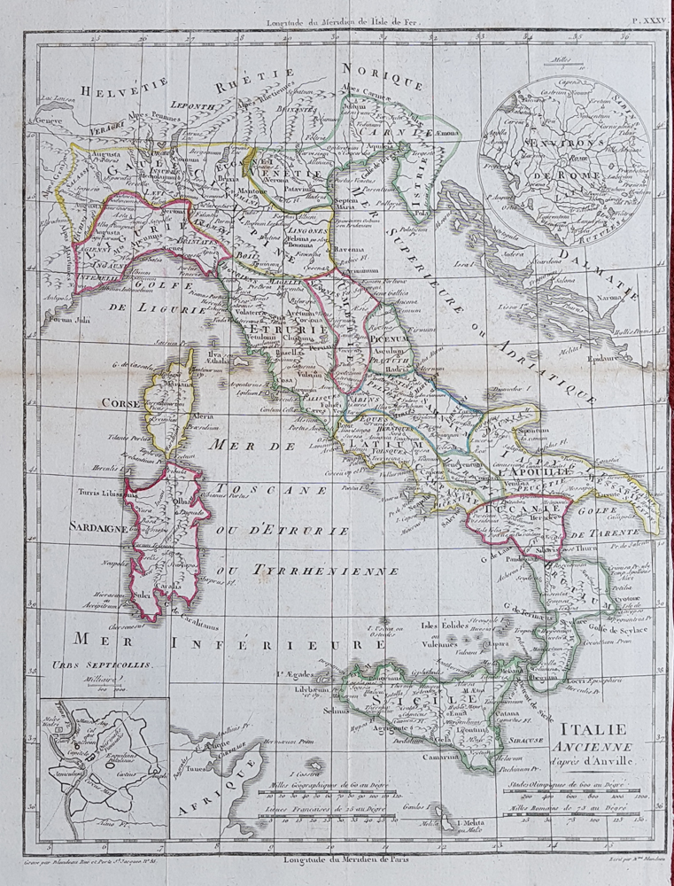 Ancient Italy map for sale