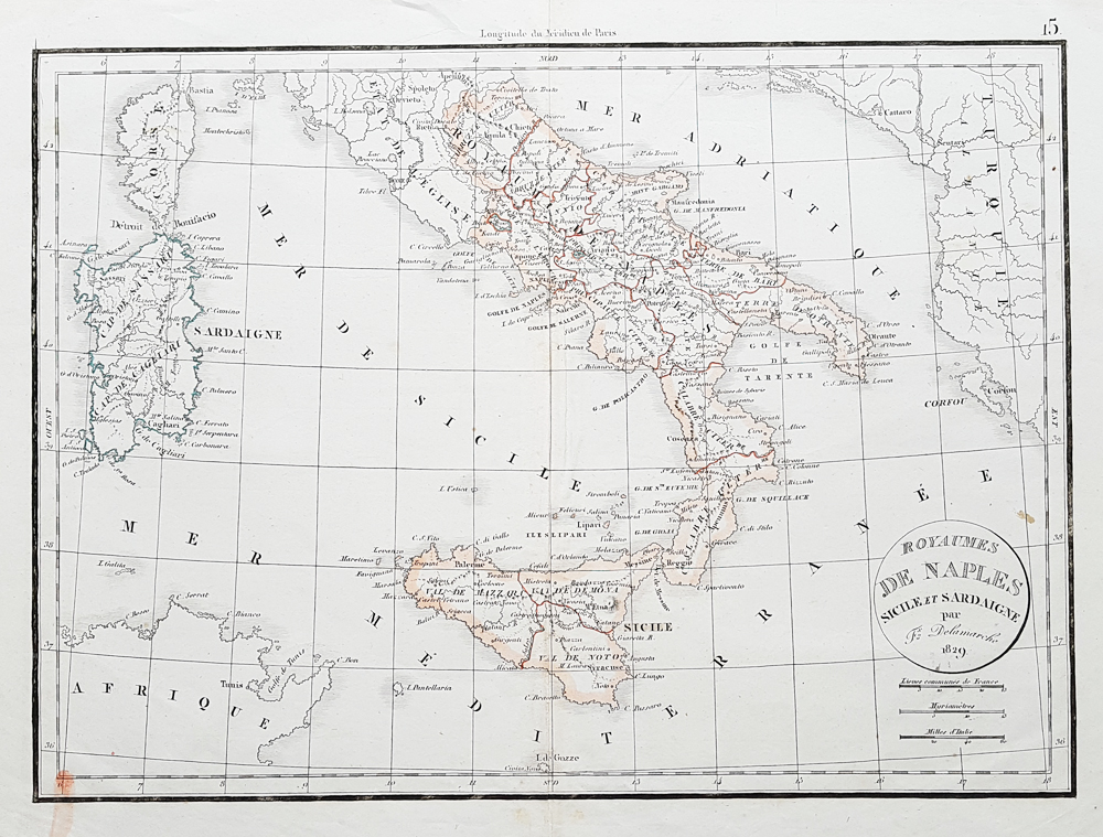 Felix Delamarche dated 1829 featuring Naples Sicily and Sardinia