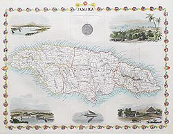 Antique map of Jamaica by Rapkin Tallis