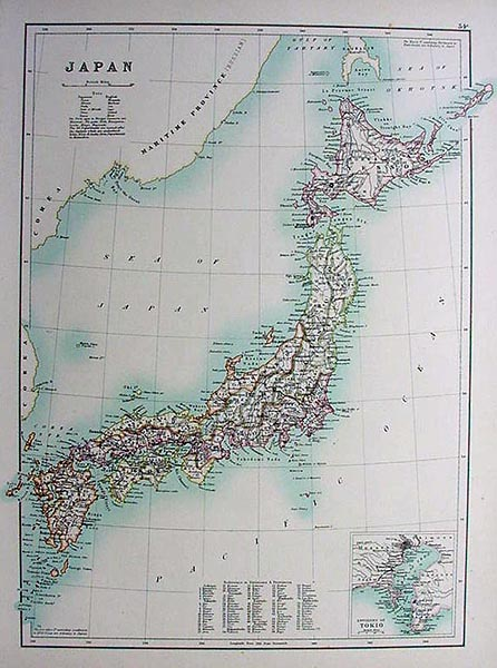 Antique Map of Japan with Tokyo