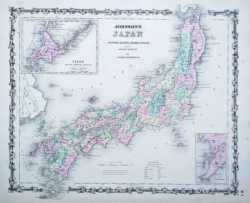 19th century map of Japan by Johnson