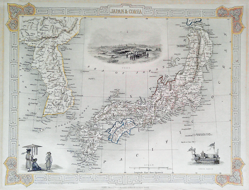 Japan and Corea antique map by Tallis and Rapkin
