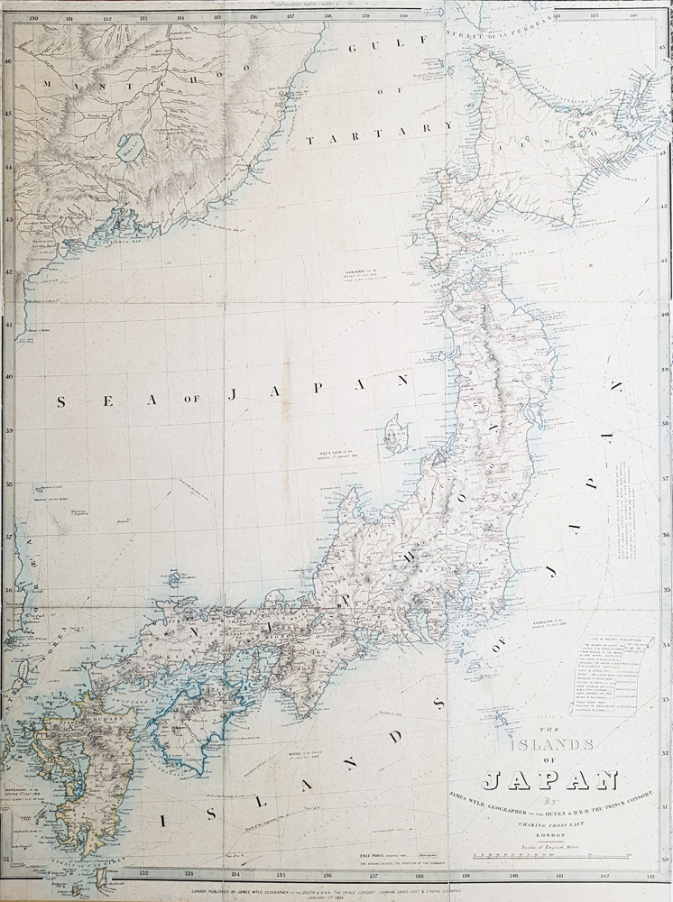 Nineteenth century Map of Japan by James Wyld dated 1859