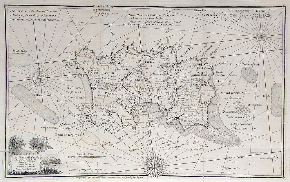18th century map of Channel Islands by Ellis