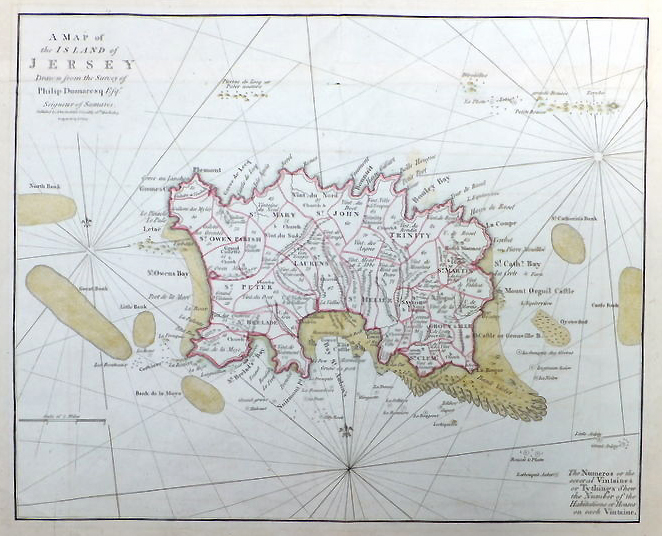 rare map of Jersey dated 1789 by John Cary
