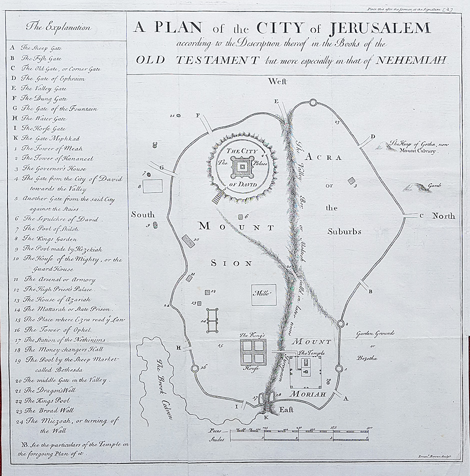 Antique plan of Jerusalem by Emanuel Bowen
