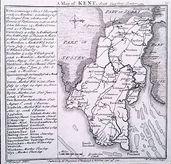 Badeslade and Toms 18th century map of Kent for sale