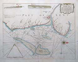 Antique chart of Kent Downes