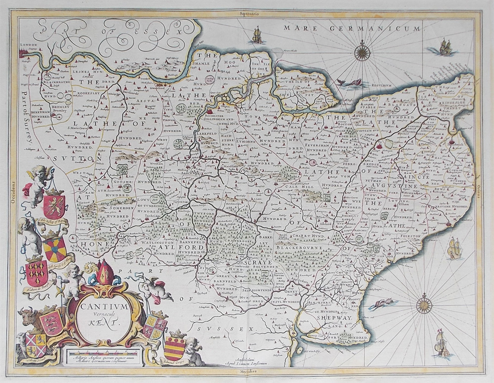 Kent 17th century map by Jan Jansson