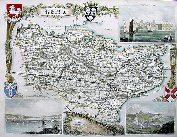 Kent Maps Online Antique County Map of Kent