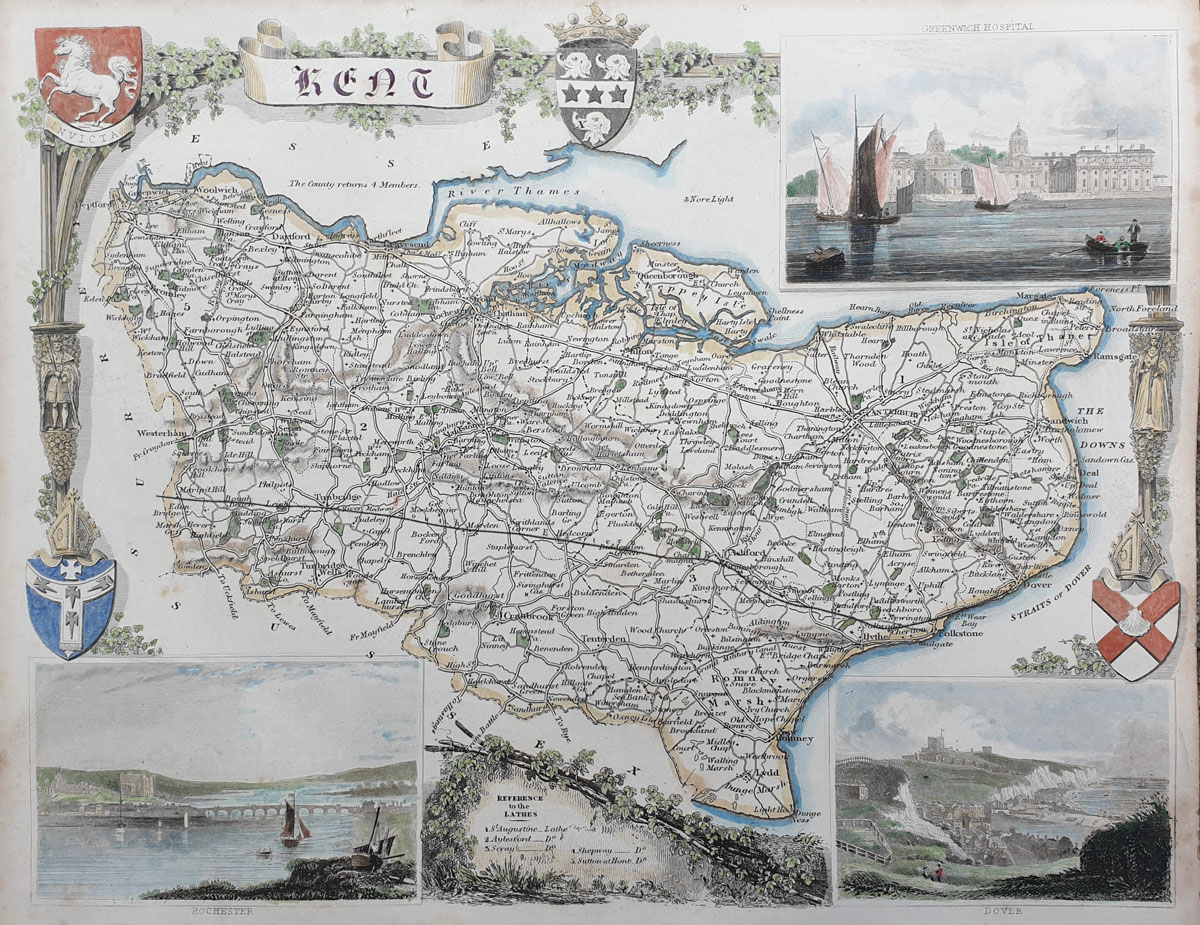 Antique map of Kent by Thomas Moule