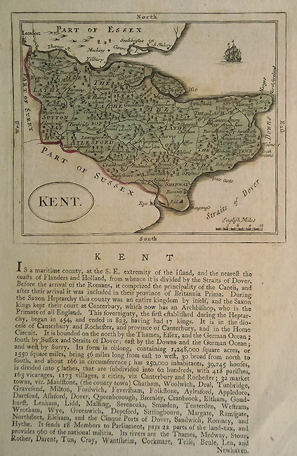 Antique Map of Kent by Seller Grose