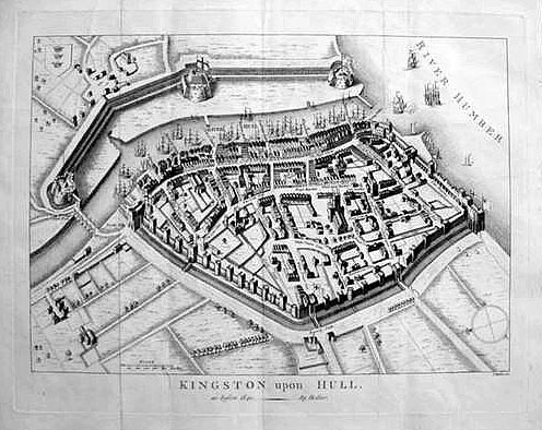 18th century antique map of Kingston Upon Hull