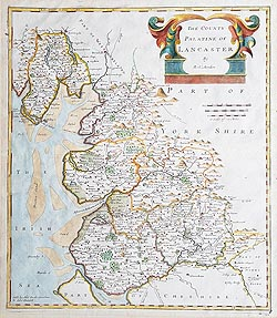 Lancashire antique map by Robert Morden For Sale