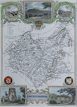 moule antique map of Leicestershire for sale