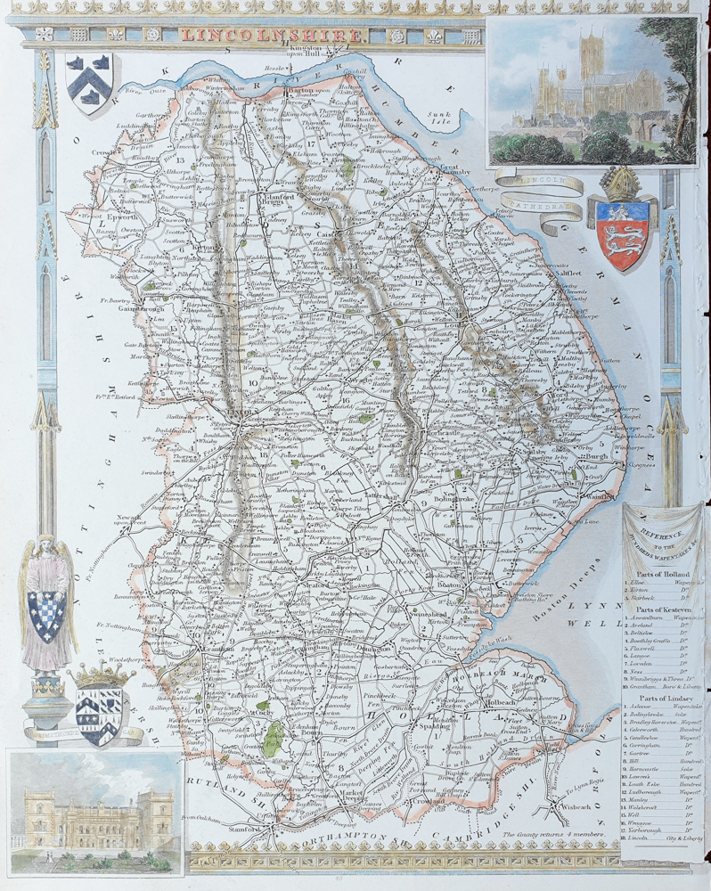 Leicestershire Antique  Map by Thomas Moule