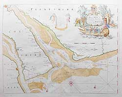 Liverpool and Chester Sea Chart by Greenville Collins - River Dee