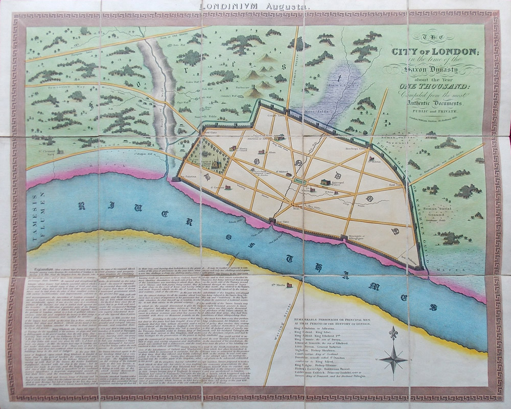 The City of London in the Time of the Saxon Dynasty - Antique map  1810