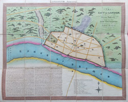 London in Saxon times antique map for sale