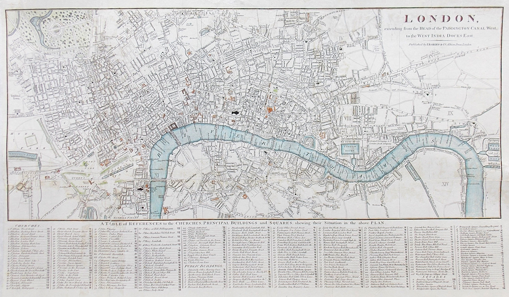 Antique map of london for sale very detailed circa 1816 antique street map of london old map of london city for sale gumiabroncs Images