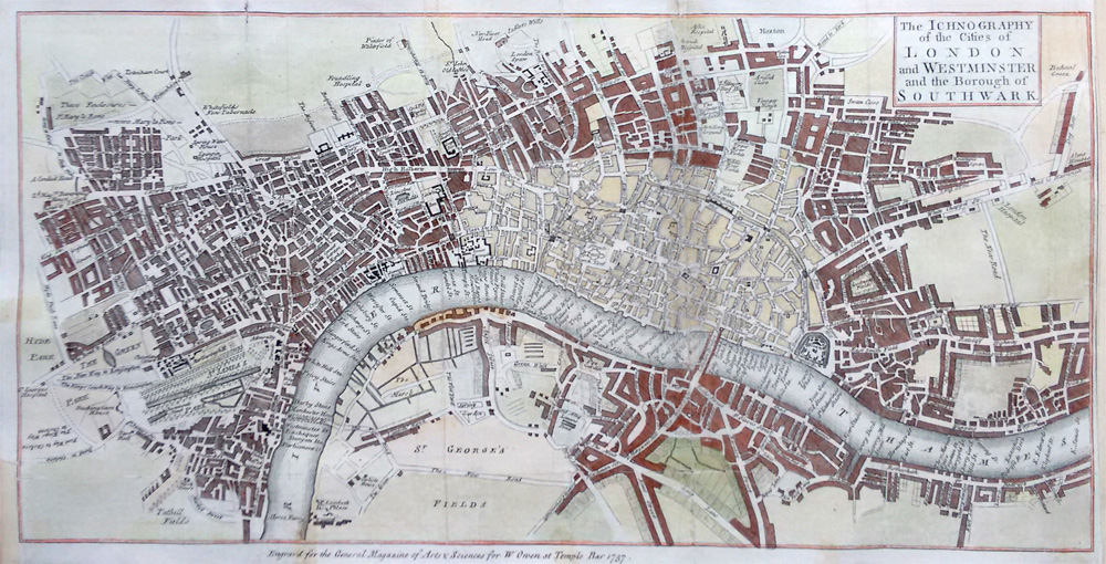 Antique Map London Westminster Southwark 1757