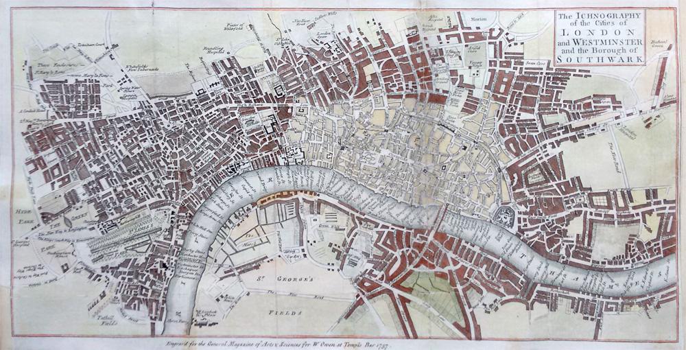 Old Street London Map.Antique Map London Westminster Southwark 1757