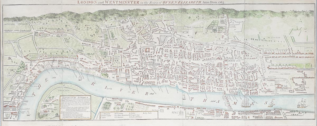 18th century map of London by Neele