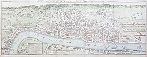 Antique Map London in the Reign of Elizabeth I