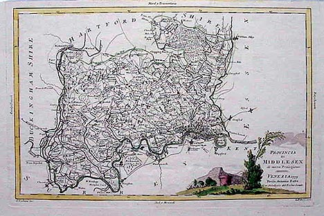 London Middlesex Antique Map
