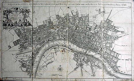 London Westminster and Southwark antique map