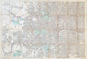 Antique Map of London by Bacon 1890 for sale