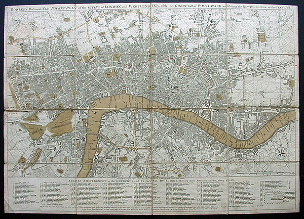 London Westminster and Southwark Antique Map c.1793
