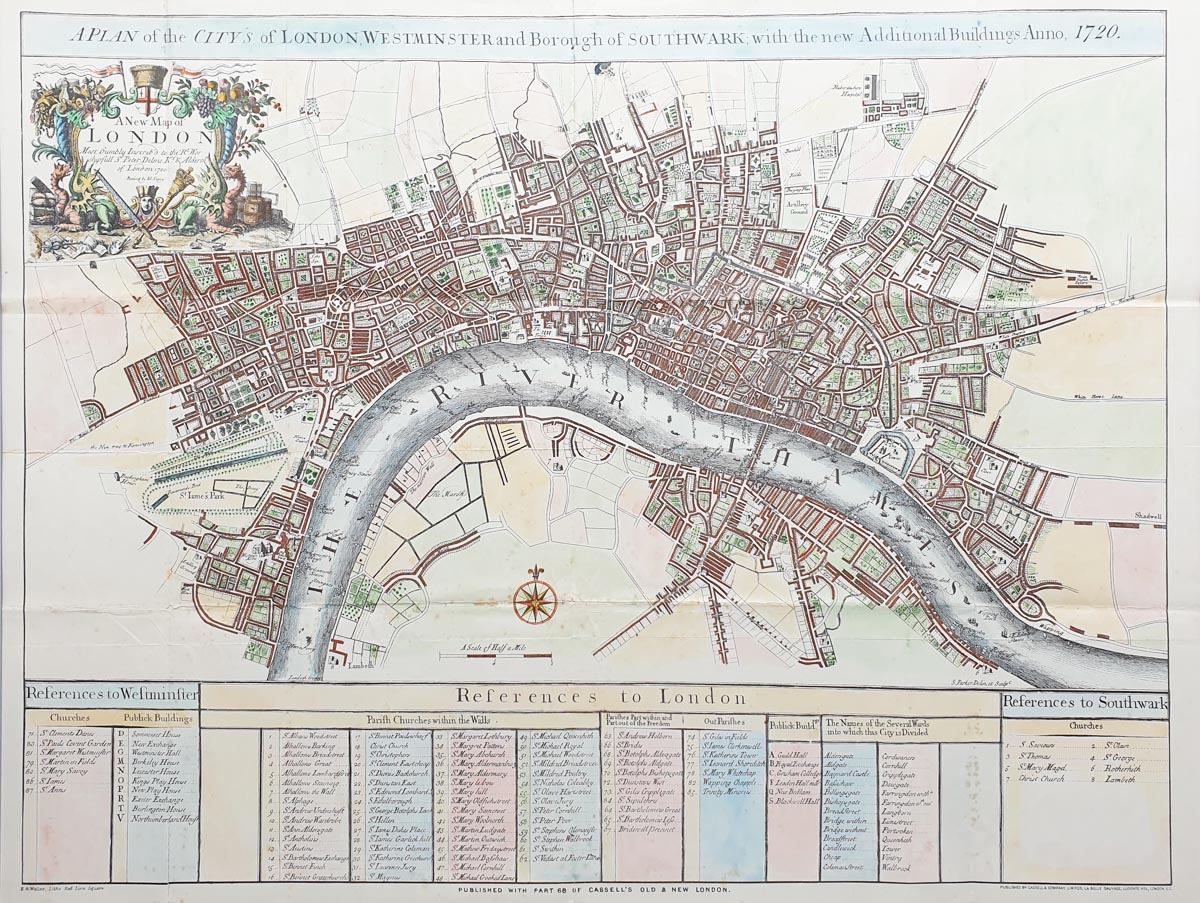 Antique map of London for sale by Cassell and Weller after John Senex