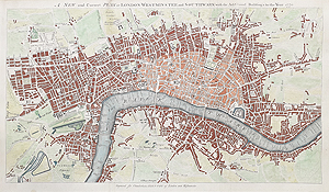 London and Westminster antique map for sale
