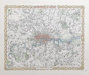 Antique  Map of London for sale by Colton