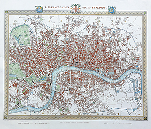 creighton walker antique map of London map for sale