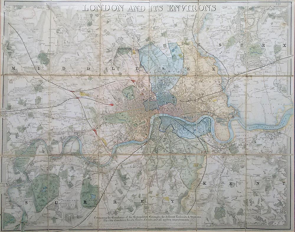 Victorian map of London for sale