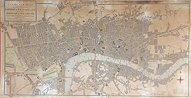London antique street map dated 1804 by Mogg