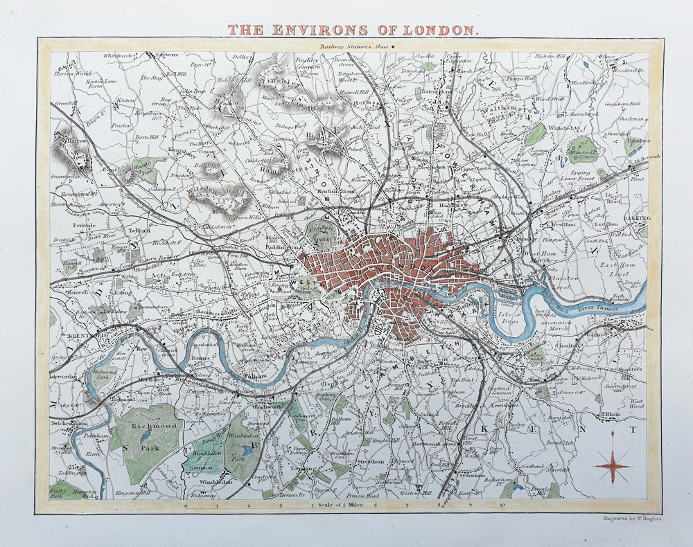 Environs of London Antiqie map by Thomas Moule 1836