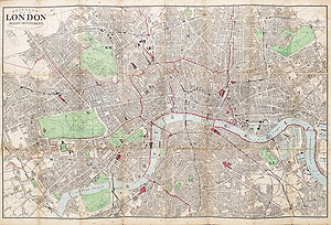 antique map of London by Reynolds