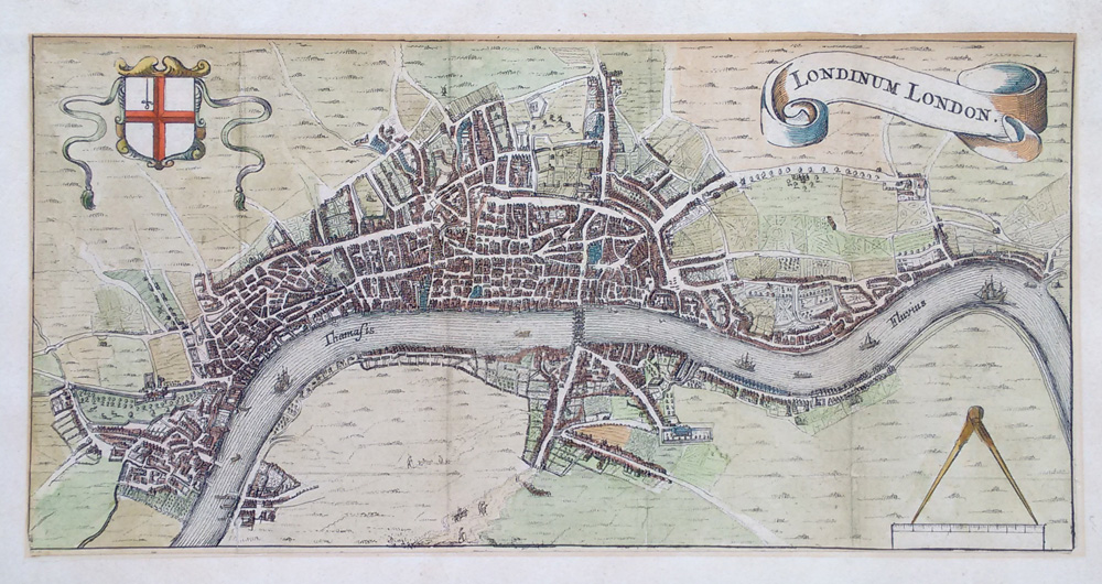 Scarce 17th Century Map Of London Rutger Hemannides 1661 Hand: 18th Century London Map At Infoasik.co