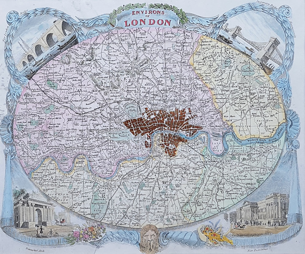 Environs of London Antiqie map by Thomas Moule