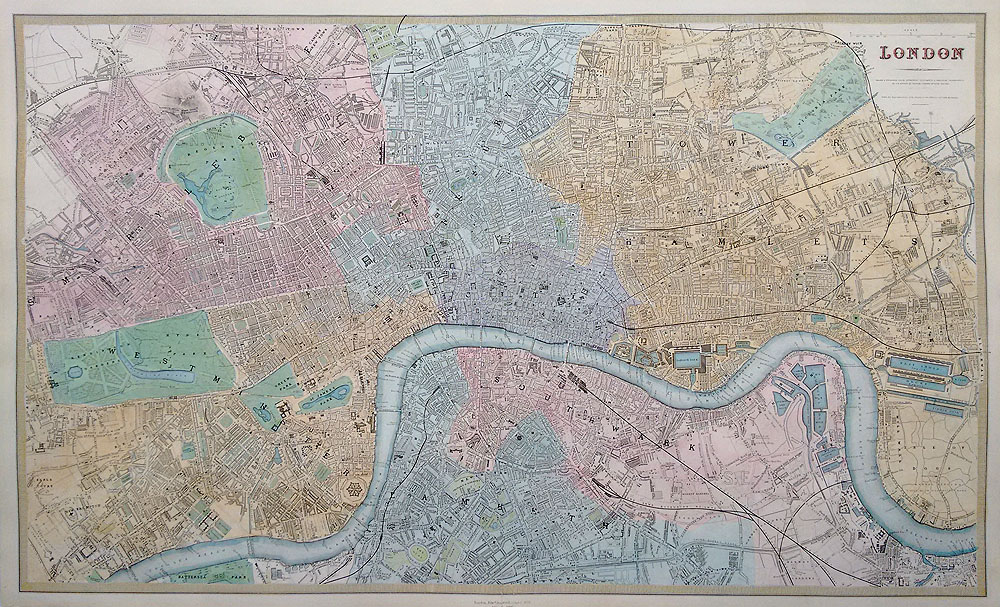 victorian street map of london by sduk for sale