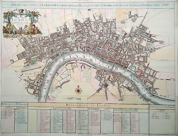 Antique City map of London