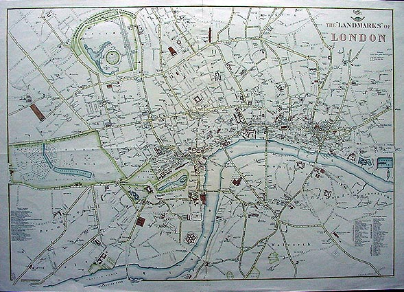 Antique map of London Landmarks circa 1863 – Map of London Landmarks
