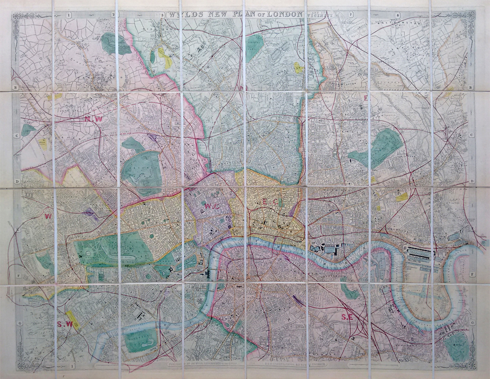 19th century London Street map by James Wylde for sale