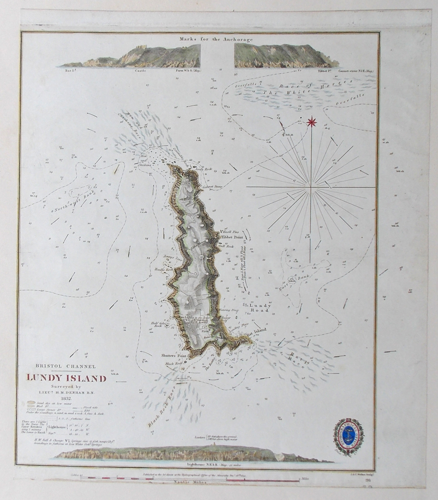 19th century chart of Lundy Island Bristol Channel