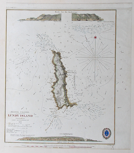 antique chart of lundy island by lieutenant denham