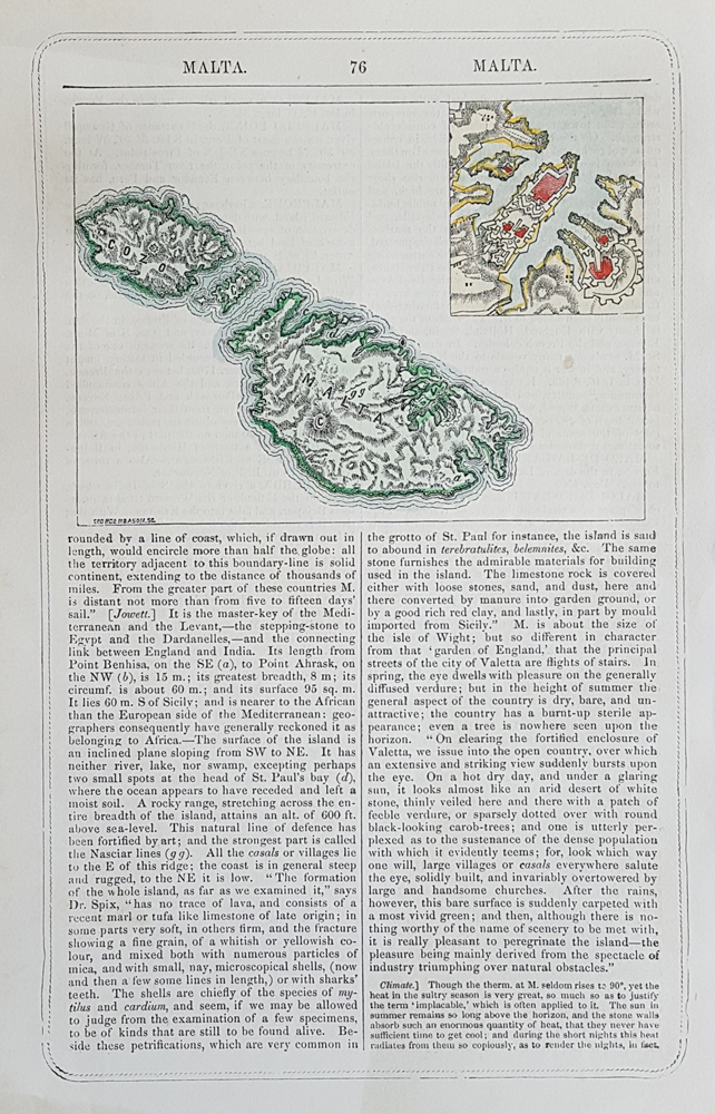 Antique 19th century map of Malta and Valetta for sale