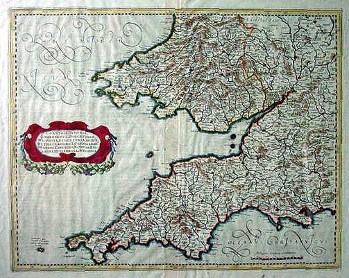 Antique map of South west England and South Wales